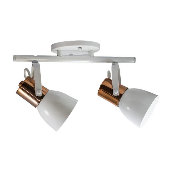 Spot para 2 Lâmpadas E27 Branco/Cobre Polido Trilho