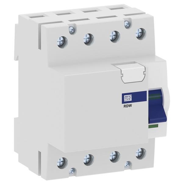 Interruptor Diferencial Residual DR Tetrapolar 80A 30MA RDW30-80-4-D17 Weg