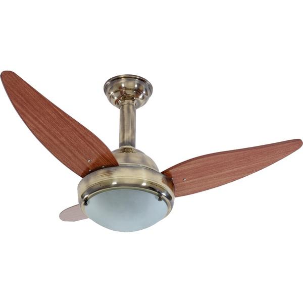 Ventilador de Teto 3 Pás de Madeira para 2 Lâmpadas E27 Ouro Velho 220V Rioprelustres