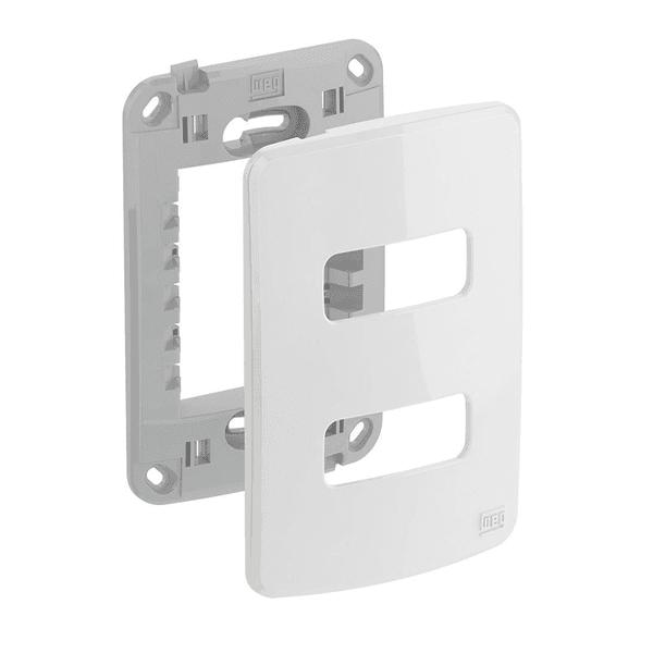 Placa 4x2 Para 2 Módulos Separados Com Suporte Composé Branco - Weg