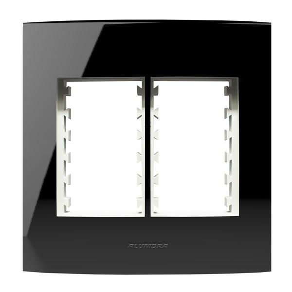 Placa 4X4 Com Suporte para 3 + 3 Módulos 85532 Black Piano Inova Pró Class Alumbra