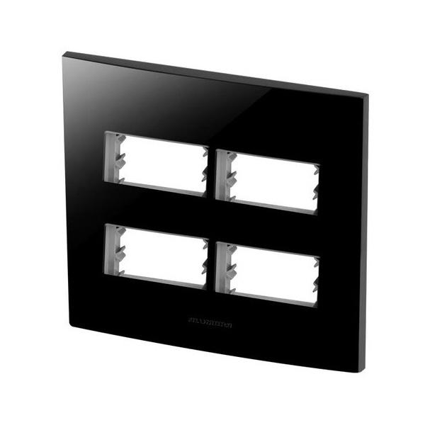 Placa 4X4 Com Suporte para 2 + 2 Módulos 85531 Black Piano Inova Pró Class Alumbra
