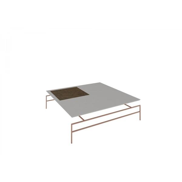 Mesa de Centro Marselha Off White com Metal Cobre Rudnick