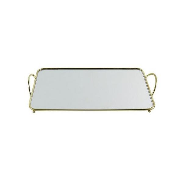 Bandeja Retangular Espelhada com Detalhes de Metal Dourado 34x19cm