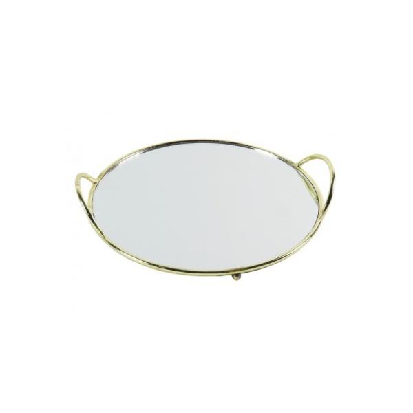 Bandeja de Espelho com Metal Dourado Ø30cm