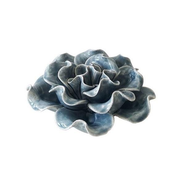 Flor Decorativa Cerâmica Azul