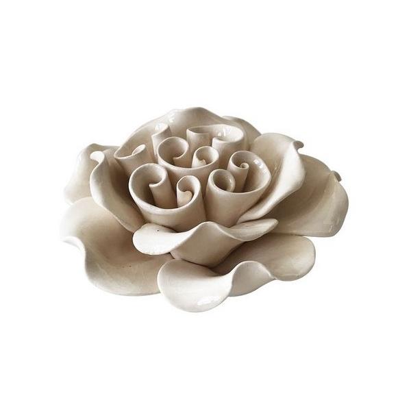 Flor Decorativa Cerâmica Branca