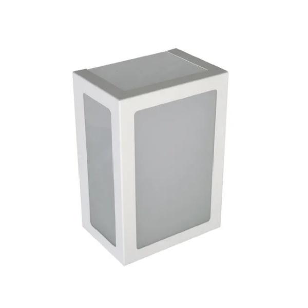 Arandela Retangular Área Externa Para 1 Lâmpada E27 Alumínio Branca