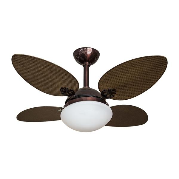 Ventilador de Teto 4 Pás Marrom Texturizado com Placa de LED 18W 127V Branco Quente Rioprelustres