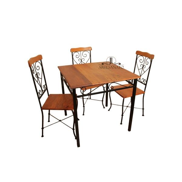 Jogo de mesa com 3 cadeiras arabesco