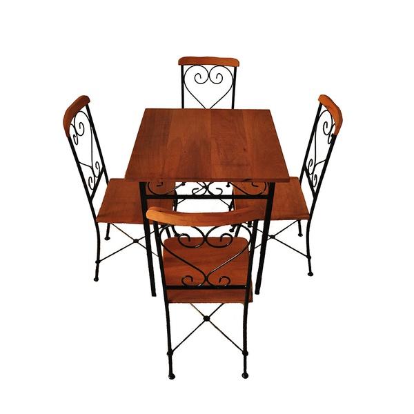 Conjunto de 4 Cadeiras e 1 Mesa 70x70