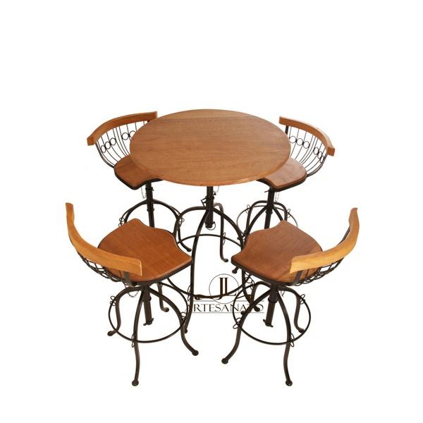 Jogo Bistrô Madeira e Ferro 1 Mesa 4 Cadeiras