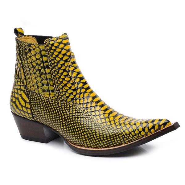 Bota Country Masculina Bico Fino Cano Curto Couro Anaconda Preto e Amarelo