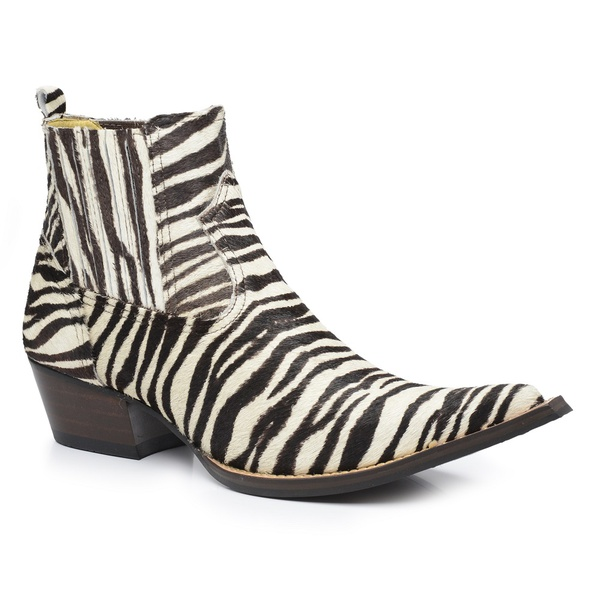 Bota Country Masculina Bico Fino Cano Curto Couro Pelo de Zebra