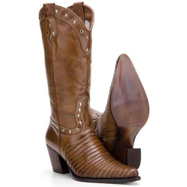 Bota Texana Feminina Casco de Tatu Bico Fino Couro Pinhão