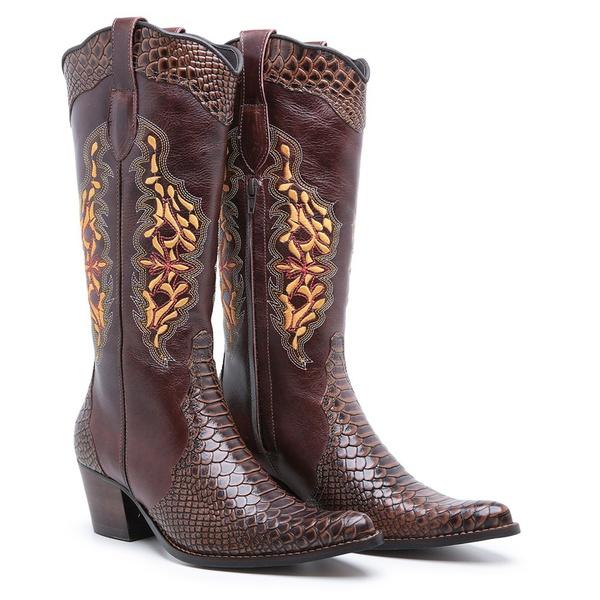 Bota Texana Feminina Country Couro Anaconda PB Nescau e Mustang Pinhão