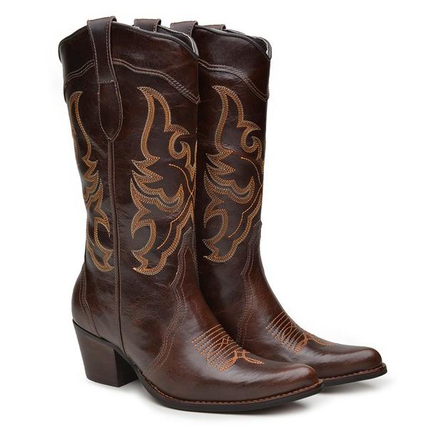 Bota Texana Feminina Country Couro Mustang Café