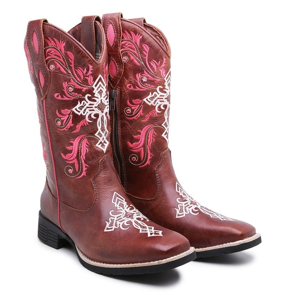 Bota Country Texana Feminina Bico Quadrado Fóssil Sela Solado Borracha