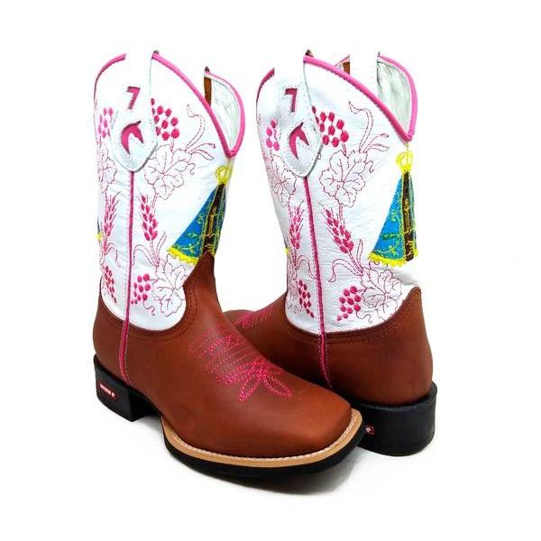 Bota Texana Feminina Bico Quadrado Cano Alto Couro Marrom e Branco