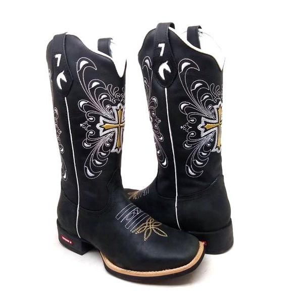 Bota Texana Feminina Bico Quadrado Cano Alto Couro Preto