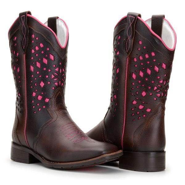 Bota Texana Feminina Bico Quadrado com Laser Rosa Couro Tamarindo