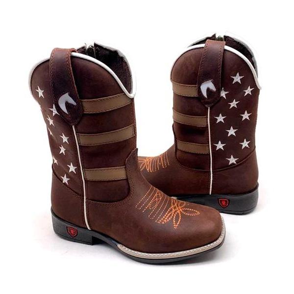 Bota Texana Infantil Bico Quadrado Americana Couro Café