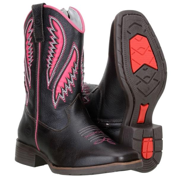 Bota Texana Infantil Couro Legítimo Tamarindo Laser Pink