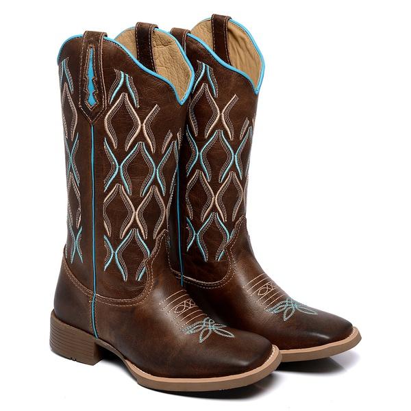 Bota Texana Feminina Bico Quadrado Country Couro Dallas Terra Azul