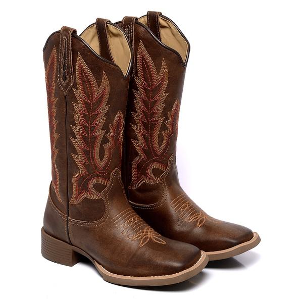 Bota Texana Feminina Bico Quadrado Country Couro Kizar Terra