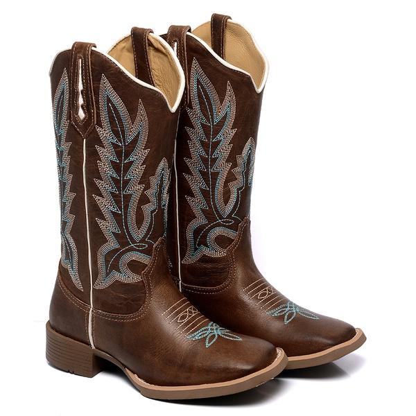Bota Texana Feminina Bico Quadrado Country Couro Kizar Terra Azul