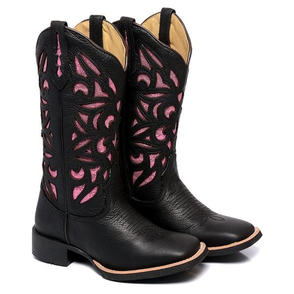Bota Texana Feminina Bico Quadrado Couro Dallas Preto Laser Rosa