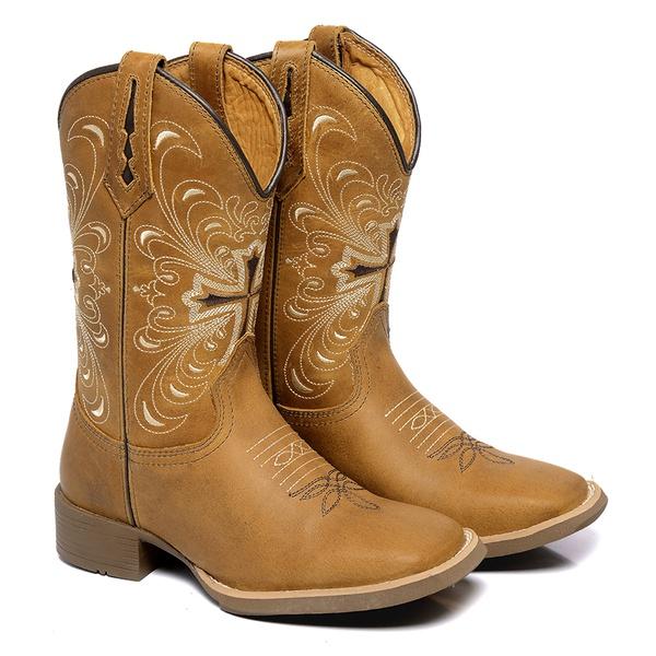 Bota Texana Feminina Bico Quadrado Couro Nobuck Caramelo Cruz