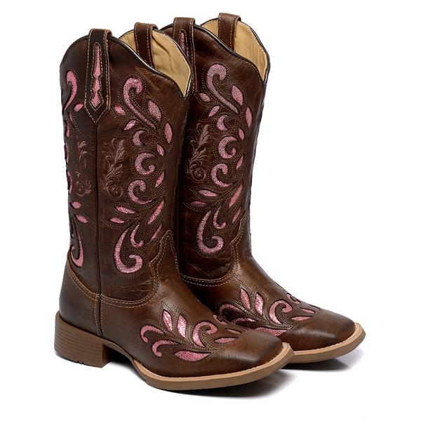 Bota Texana Feminina Country Bico Quadrado Couro Terra Laser Rosa