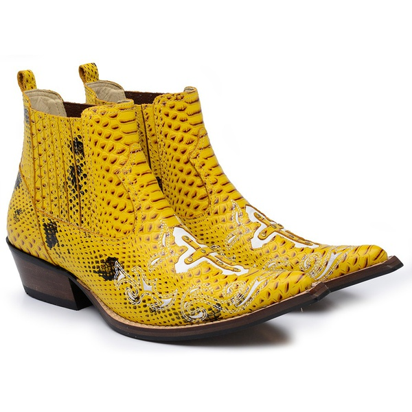 Botina Country Masculina Cano Curto Bico Fino Couro Anaconda PB Amarelo