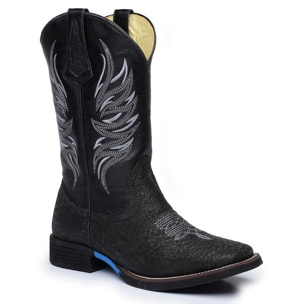 Bota Country Exótica Texana Masculina Tubarão Original Preto e Mustang Preto