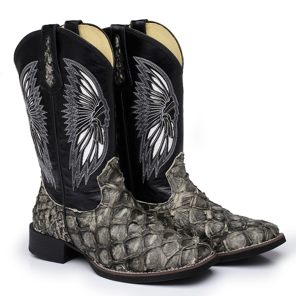 Bota Texana Exótica Masculina Couro Pirarucu Marfim Rústico e Mustang Preto