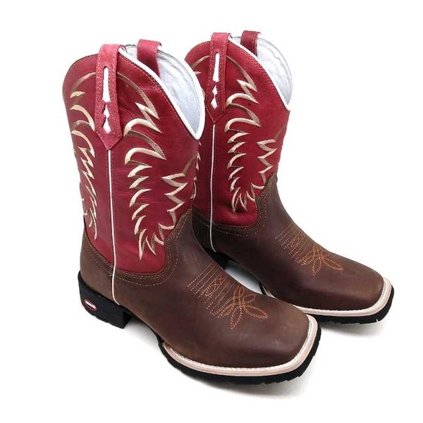 Bota Bico Quadrado Texana Masculina Couro Café e Vermelho