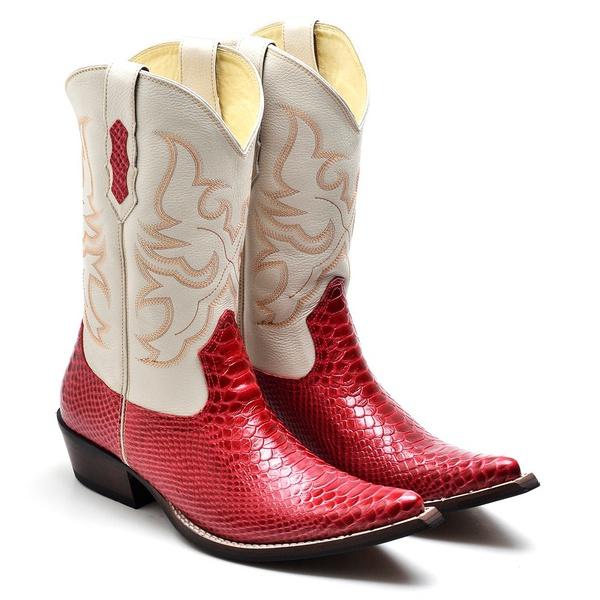 Bota Country Texana Masculina Bico Fino Anaconda Vermelho e Floater Marfim