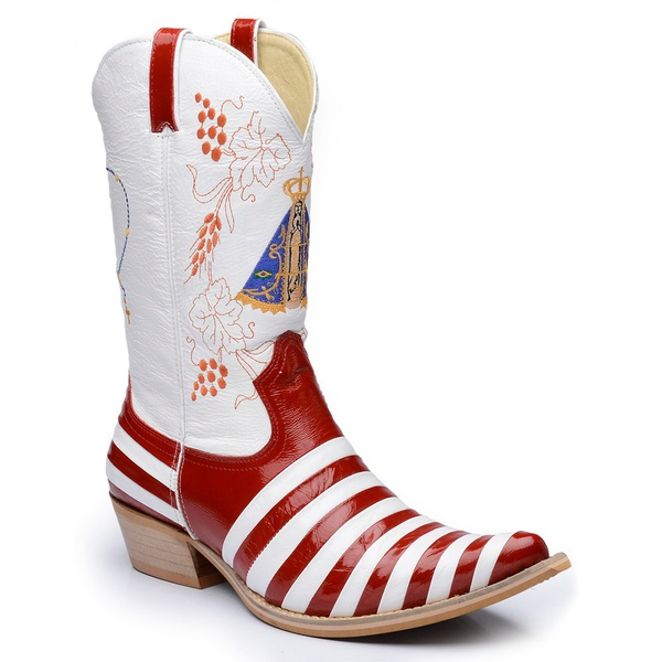 Bota Country Texana Masculina Bico Fino Casco de Tatu Couro Verniz Vermelho e Branco Promoção
