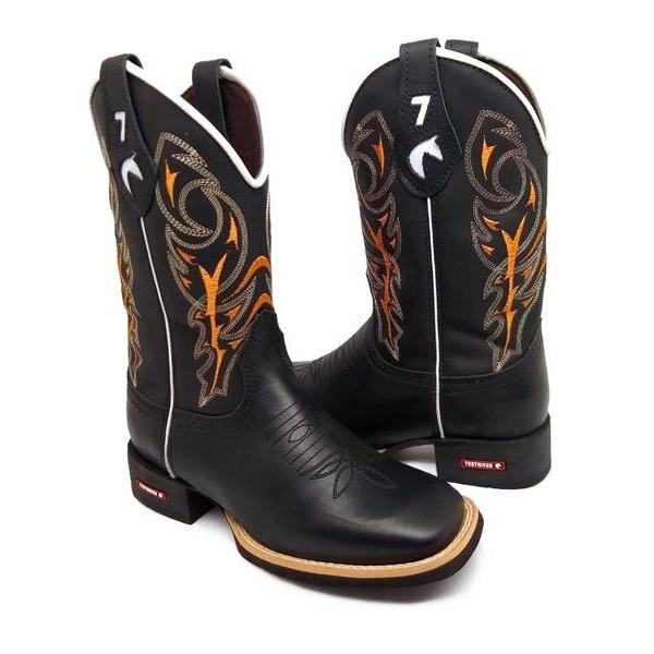 Bota Masculina Texana Bico Quadrado Couro Preto