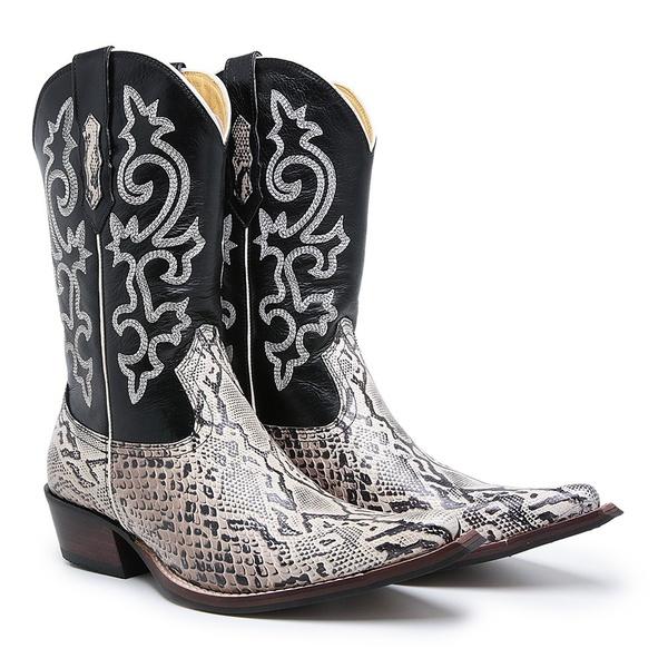 Bota Texana Bico Fino Country Masculina Couro Réplica Píton Off White