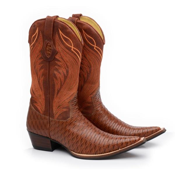 Bota Texana Bico Fino Country Masculina Couro Trançado Pinhão