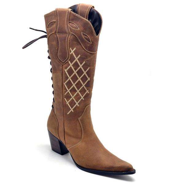 Bota Texana Feminina Bico Fino Couro Legítimo Fóssil Mostarda