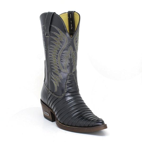 Bota Texana Masculina Bico Fino Casco de Tatu Couro Natural Preto