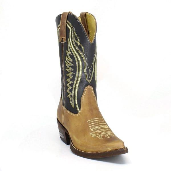 Bota Texana Masculina Bico Fino Couro Fóssil Mostarda e Látego Preto