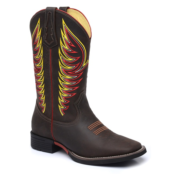 Bota Country Masculina Texana JM Country Couro Crazy Horse Chocolate