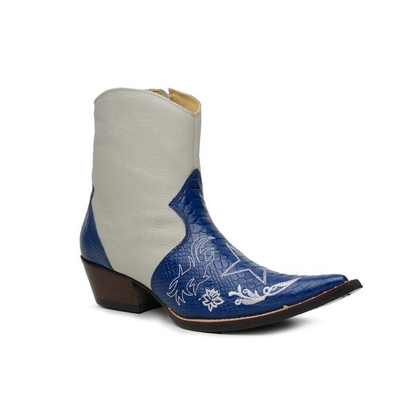Bota Country Masculina Bico Fino Cano Curto Couro Anaconda PB Azul e Floater Marfim