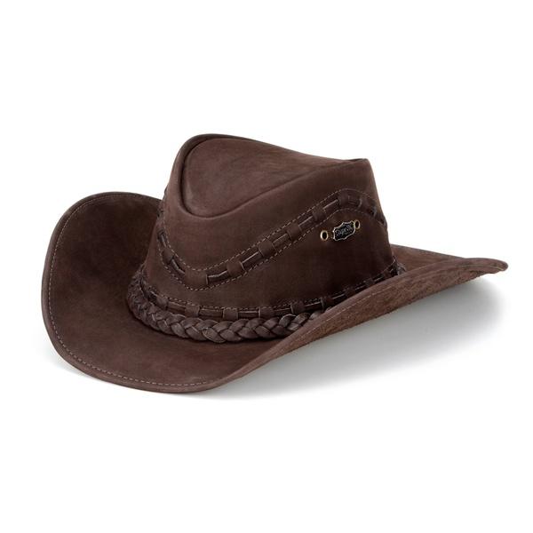 Chapéu Country Texano Unissex em Couro Legítimo Nobuck Café