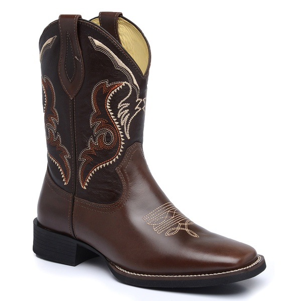 Bota Country Masculina Texana JM Country Couro Pull-up Brown e Mustang Café