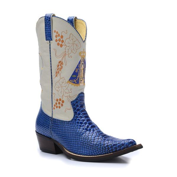 Bota Country Masculina Texana Bico Fino Couro Anaconda PB Azul e Floater Marfim